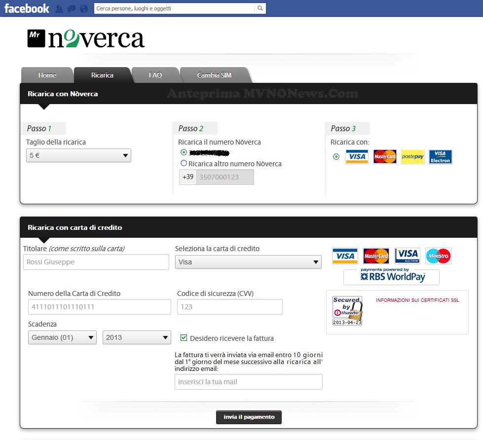 App  FB Ricarica Nòverca