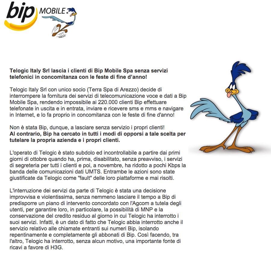 Comunicato bip MOBILE 03012014