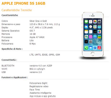 iPhone 5s Fastweb Mobile