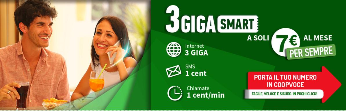 CoopVoce lancia 3Giga Smart: chiamate a 1 cent/minuto e 3 GB di internet