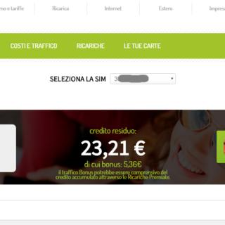 Screenshot Area Clienti CoopVoce