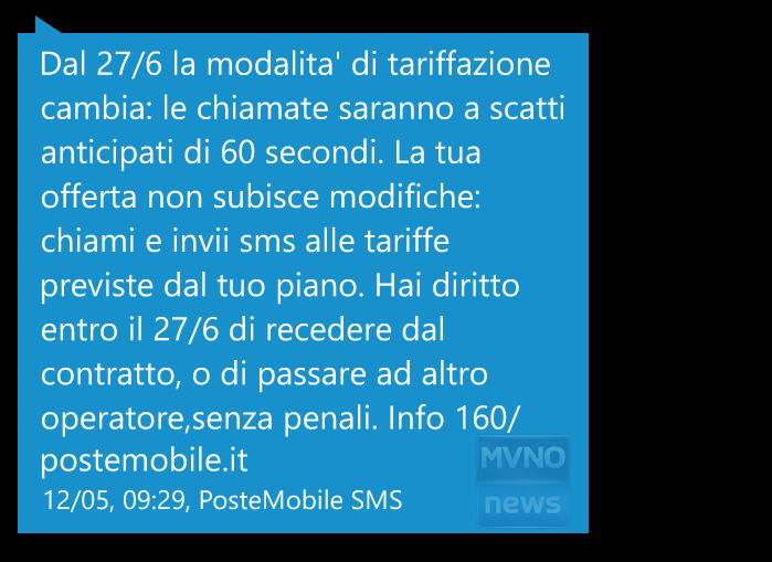 Rimodulazione PosteMobile tariffa base 27 giugno 2017