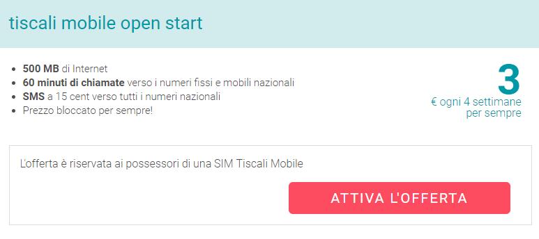 Attiva Offerta Tiscali Mobile Open