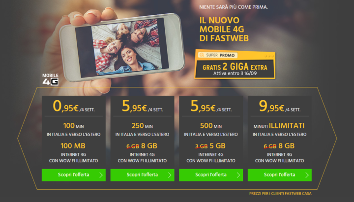 Fastweb 2 Giga Extra
