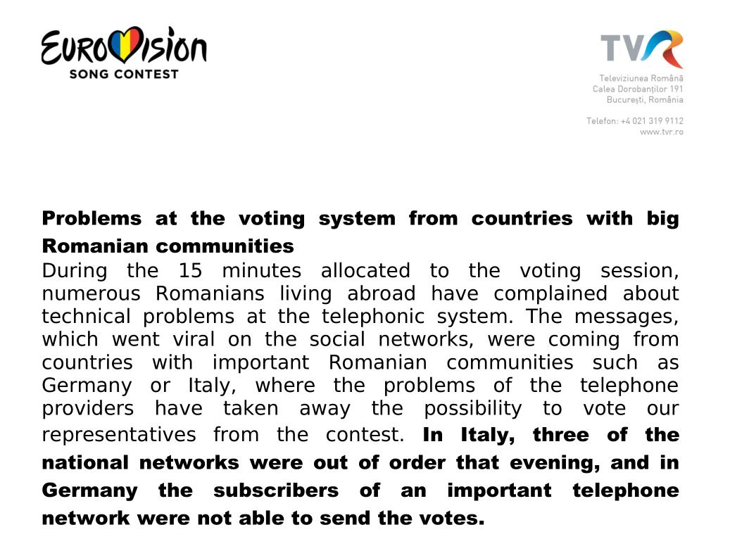 Comunicato TVR televoto Eurovision 2018
