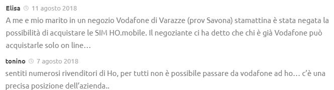 Commenti MNP Vodafone ho. Mobile