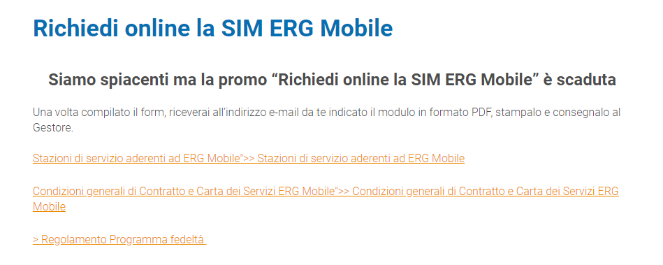 Richiesta SIM ERG Mobile