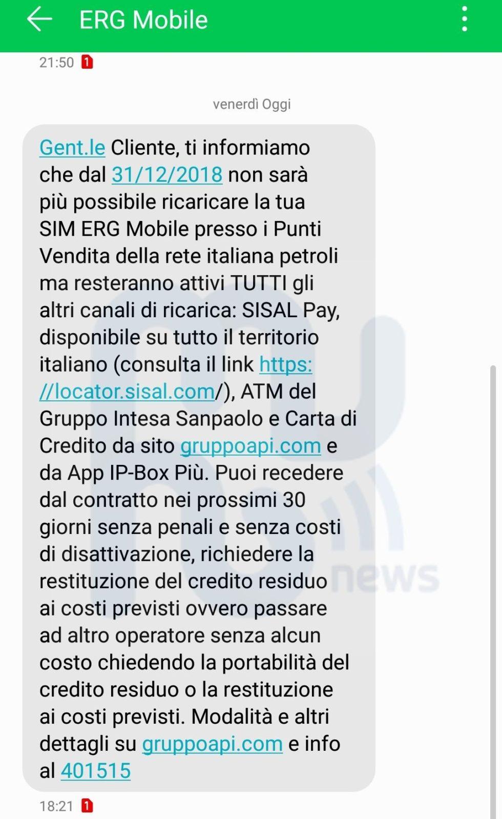 SMS chiusura ricarica ERG Mobile