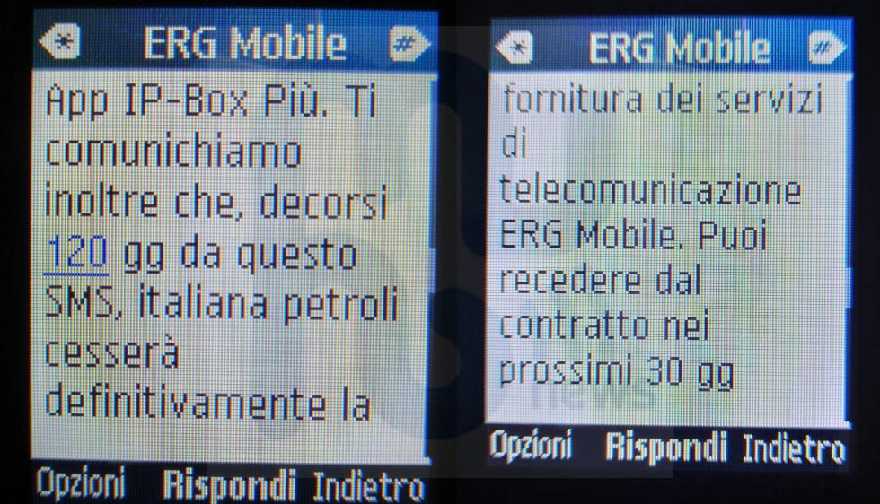 SMS chiusura ERG Mobile