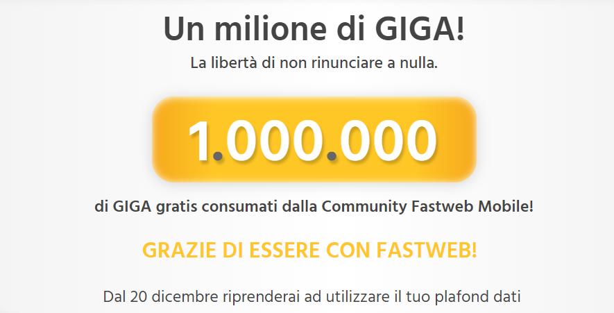 1 Milione di Giga Fastweb