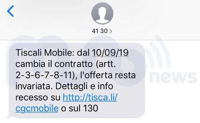 Tiscali Mobile notifica SMS modifica CCGdC