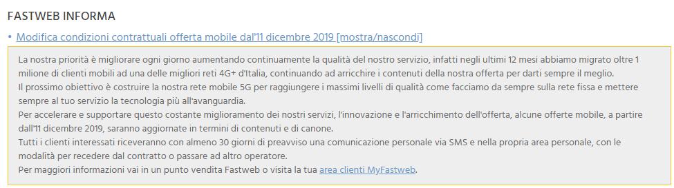 Comunicazione Fastweb Mobile