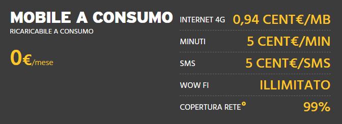 Mobile a consumo Fastweb