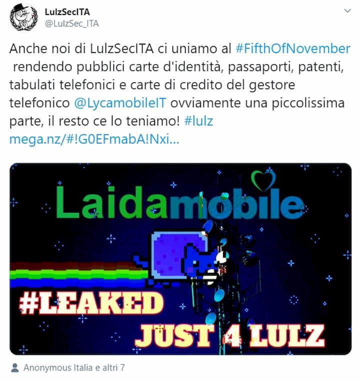 Tweet LulzSecITA Lycamobile