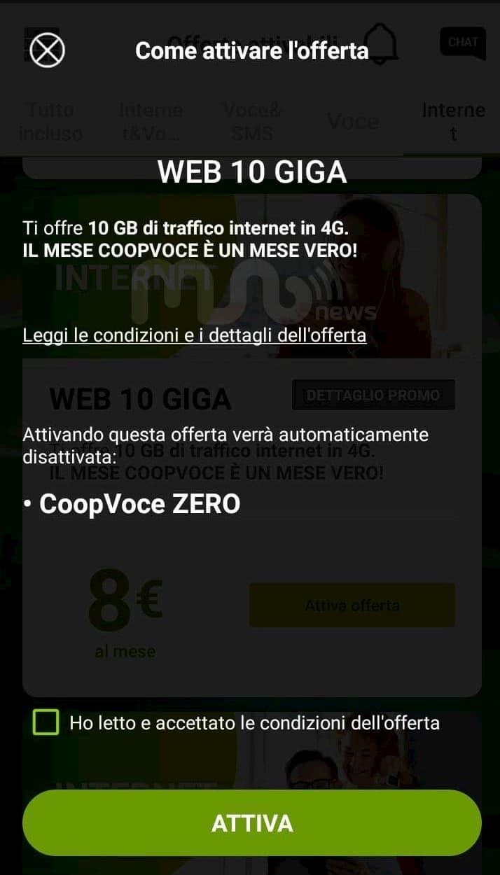 Opzione Zero CoopVoce e Web 10 GB