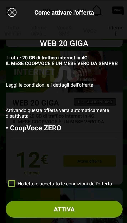 Opzione Zero CoopVoce e Web 20 GB