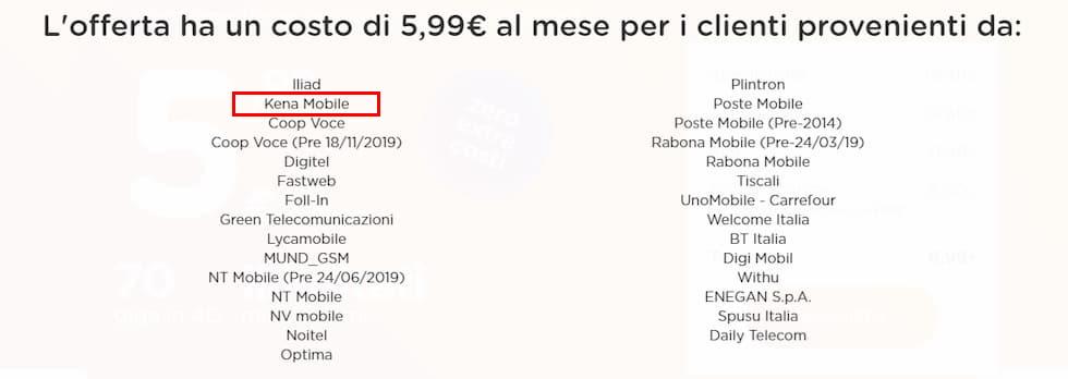 Lista operatori provenienza ho. 5,99 new