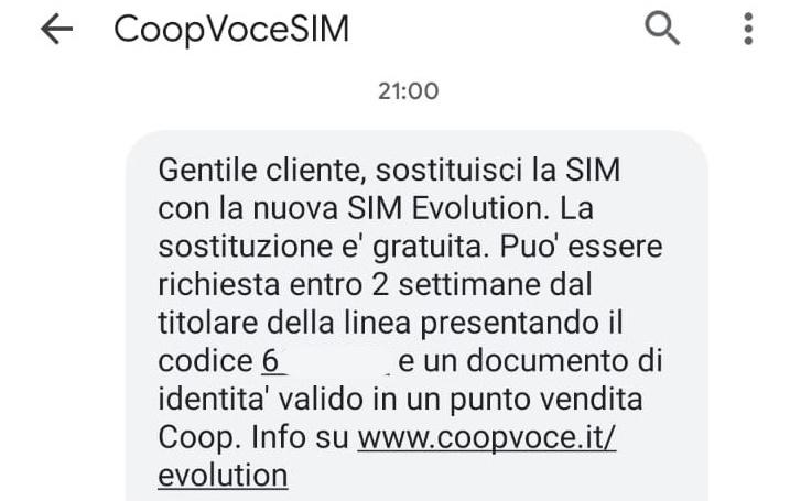 SMS CoopVoce codice sostituzione SIM