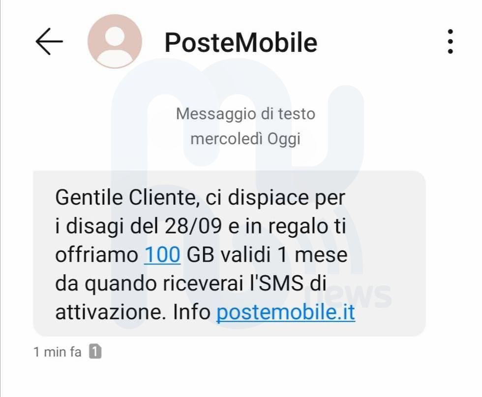 SMS PosteMobile 100 Giga