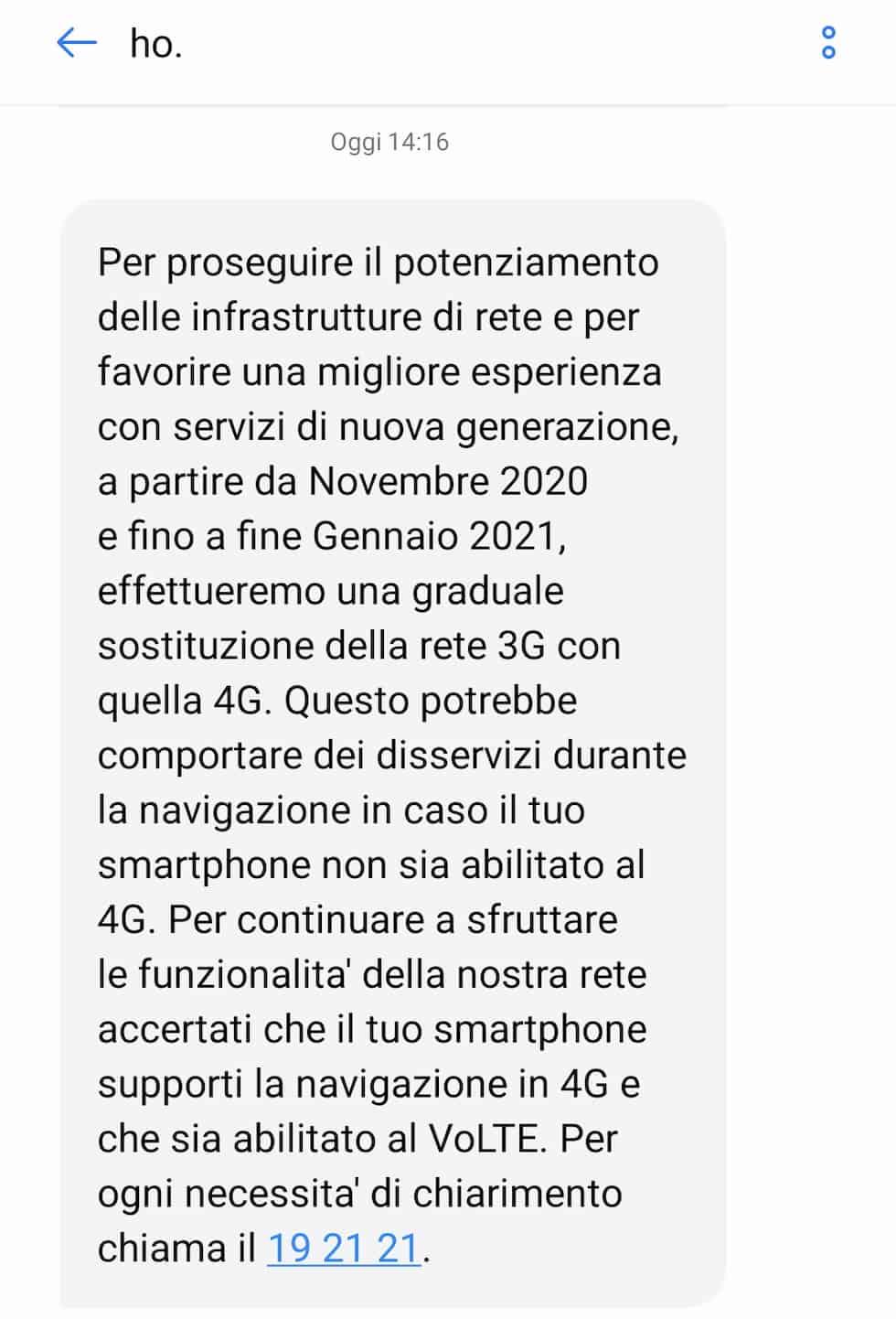 SMS ho. Mobile 3G