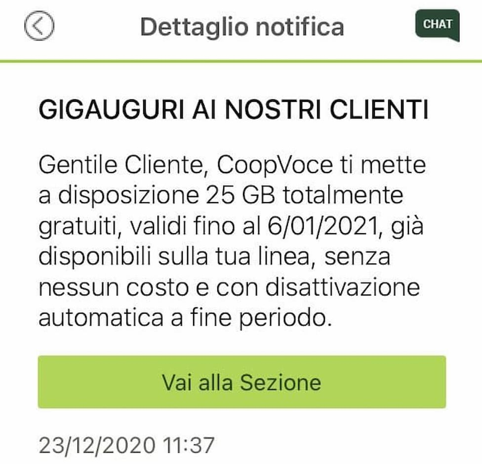 Notifica CoopVoce GigAuguri