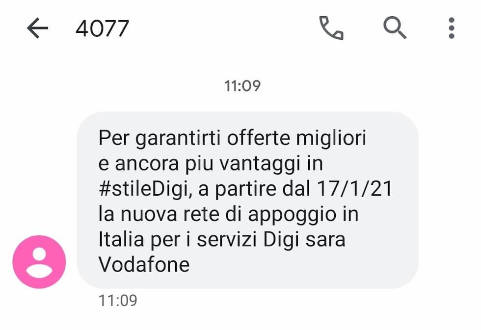 SMS DIGI Mobil cambio rete