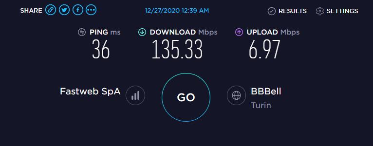 Speed Test Fastweb 5G
