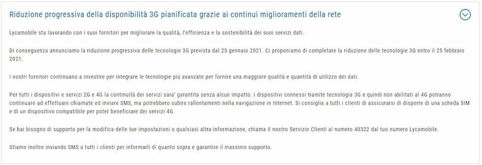 Comunicazione Lycamobile dismissione 3G Vodafone
