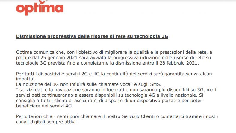 Comunicazione Optima dismissione 3G Vodafone