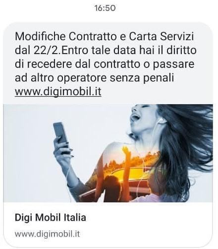 SMS DIGI Mobil nuove condizioni contrattuali