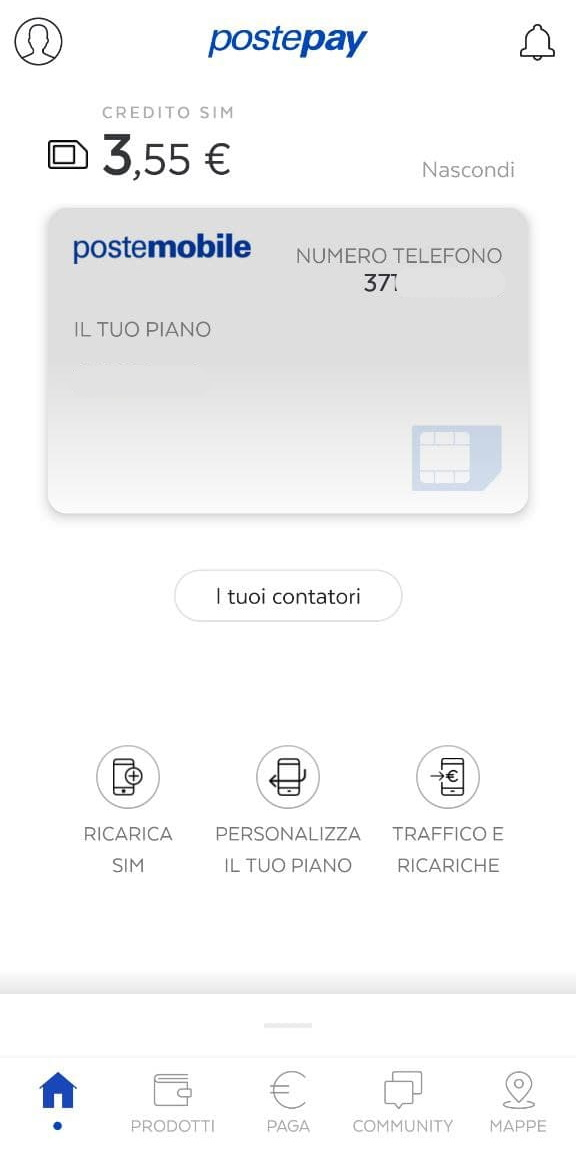 Screenshot App Postepay PosteMobile