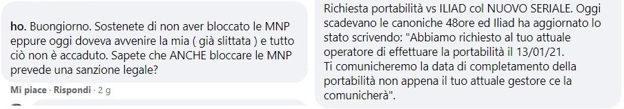 Segnalazioni ritardi MNP ho.