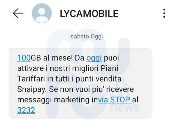 SMS Lycamobile Snaipay