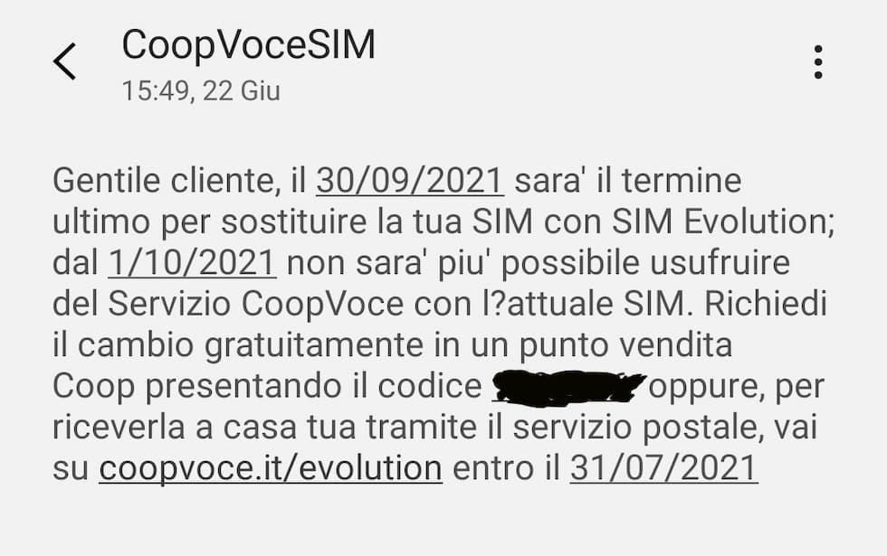 SMS CoopVoce scadenza cambio SIM Evolution