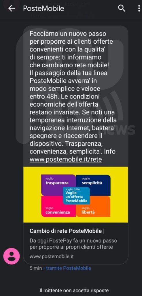 SMS PosteMobile migrazione rete Vodafone