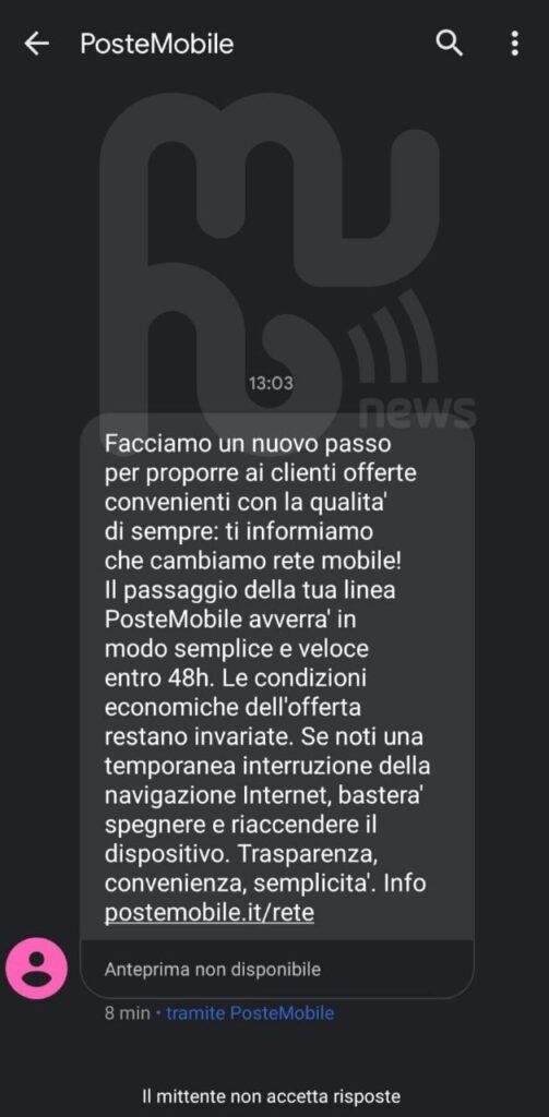 SMS migrazione PosteMobile